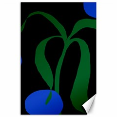 Flower Green Blue Polka Dots Canvas 24  X 36  by Mariart