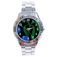 Flower Green Blue Polka Dots Stainless Steel Analogue Watch by Mariart