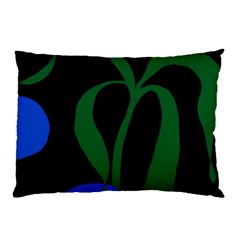 Flower Green Blue Polka Dots Pillow Case (two Sides) by Mariart