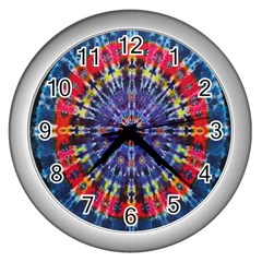 Circle Purple Green Tie Dye Kaleidoscope Opaque Color Wall Clocks (silver)  by Mariart