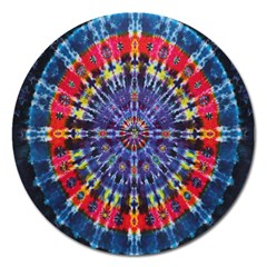 Circle Purple Green Tie Dye Kaleidoscope Opaque Color Magnet 5  (round) by Mariart