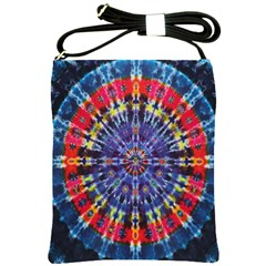 Circle Purple Green Tie Dye Kaleidoscope Opaque Color Shoulder Sling Bags by Mariart