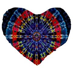 Circle Purple Green Tie Dye Kaleidoscope Opaque Color Large 19  Premium Flano Heart Shape Cushions by Mariart