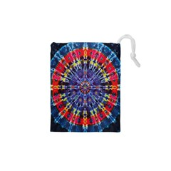Circle Purple Green Tie Dye Kaleidoscope Opaque Color Drawstring Pouches (xs)  by Mariart