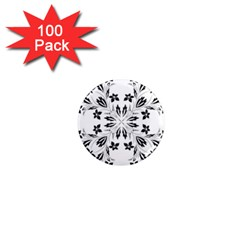 Floral Element Black White 1  Mini Magnets (100 Pack)  by Mariart