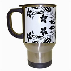 Floral Element Black White Travel Mugs (white) by Mariart