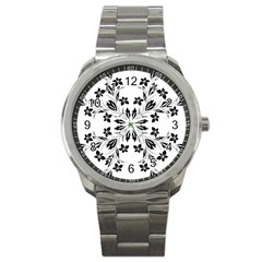 Floral Element Black White Sport Metal Watch by Mariart