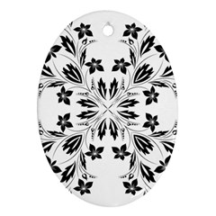Floral Element Black White Oval Ornament (two Sides) by Mariart