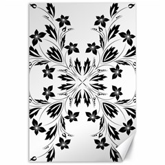 Floral Element Black White Canvas 24  X 36  by Mariart