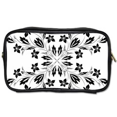 Floral Element Black White Toiletries Bags 2 Side by Mariart