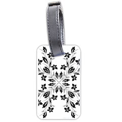 Floral Element Black White Luggage Tags (one Side)  by Mariart