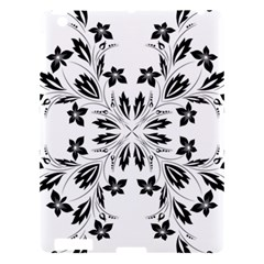 Floral Element Black White Apple Ipad 3/4 Hardshell Case by Mariart