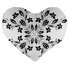 Floral Element Black White Large 19  Premium Heart Shape Cushions by Mariart