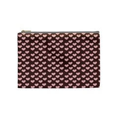 Chocolate Pink Hearts Gift Wrap Cosmetic Bag (medium)  by Mariart