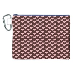 Chocolate Pink Hearts Gift Wrap Canvas Cosmetic Bag (xxl) by Mariart