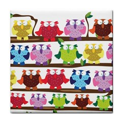 Funny Owls Sitting On A Branch Pattern Postcard Rainbow Tile Coasters by Mariart