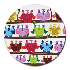 Funny Owls Sitting On A Branch Pattern Postcard Rainbow Round Mousepads by Mariart