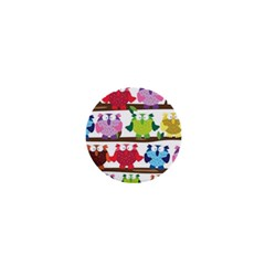 Funny Owls Sitting On A Branch Pattern Postcard Rainbow 1  Mini Buttons by Mariart