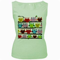 Funny Owls Sitting On A Branch Pattern Postcard Rainbow Women s Green Tank Top by Mariart