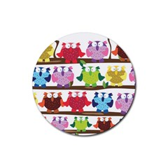Funny Owls Sitting On A Branch Pattern Postcard Rainbow Rubber Coaster (round)  by Mariart