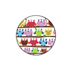 Funny Owls Sitting On A Branch Pattern Postcard Rainbow Hat Clip Ball Marker by Mariart