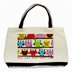 Funny Owls Sitting On A Branch Pattern Postcard Rainbow Basic Tote Bag by Mariart