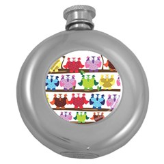 Funny Owls Sitting On A Branch Pattern Postcard Rainbow Round Hip Flask (5 Oz) by Mariart