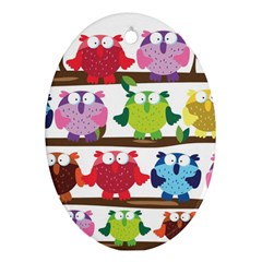 Funny Owls Sitting On A Branch Pattern Postcard Rainbow Oval Ornament (two Sides) by Mariart