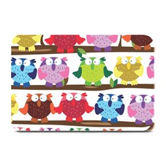 Funny Owls Sitting On A Branch Pattern Postcard Rainbow Plate Mats by Mariart