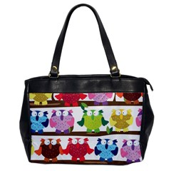 Funny Owls Sitting On A Branch Pattern Postcard Rainbow Office Handbags by Mariart