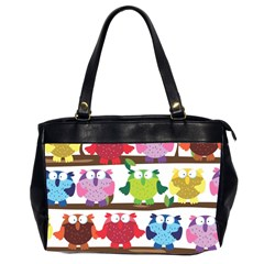 Funny Owls Sitting On A Branch Pattern Postcard Rainbow Office Handbags (2 Sides)  by Mariart