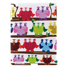 Funny Owls Sitting On A Branch Pattern Postcard Rainbow Apple Ipad 3/4 Hardshell Case (compatible With Smart Cover) by Mariart