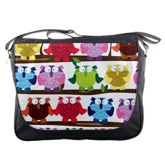Funny Owls Sitting On A Branch Pattern Postcard Rainbow Messenger Bags by Mariart