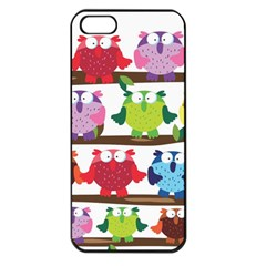 Funny Owls Sitting On A Branch Pattern Postcard Rainbow Apple Iphone 5 Seamless Case (black) by Mariart