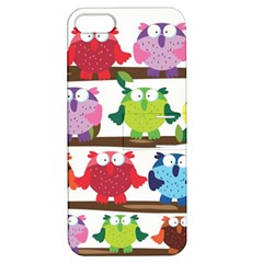 Funny Owls Sitting On A Branch Pattern Postcard Rainbow Apple Iphone 5 Hardshell Case With Stand by Mariart