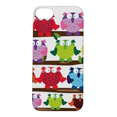 Funny Owls Sitting On A Branch Pattern Postcard Rainbow Apple Iphone 5s/ Se Hardshell Case by Mariart