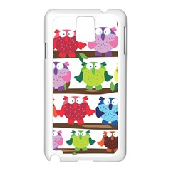 Funny Owls Sitting On A Branch Pattern Postcard Rainbow Samsung Galaxy Note 3 N9005 Case (white) by Mariart