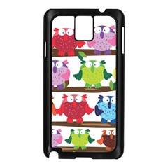 Funny Owls Sitting On A Branch Pattern Postcard Rainbow Samsung Galaxy Note 3 N9005 Case (black) by Mariart