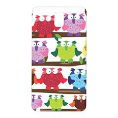 Funny Owls Sitting On A Branch Pattern Postcard Rainbow Samsung Galaxy Note 3 N9005 Hardshell Back Case by Mariart