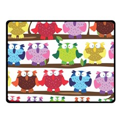 Funny Owls Sitting On A Branch Pattern Postcard Rainbow Double Sided Fleece Blanket (small)  by Mariart