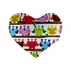 Funny Owls Sitting On A Branch Pattern Postcard Rainbow Standard 16  Premium Flano Heart Shape Cushions by Mariart