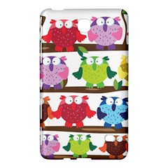 Funny Owls Sitting On A Branch Pattern Postcard Rainbow Samsung Galaxy Tab 4 (7 ) Hardshell Case
