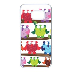 Funny Owls Sitting On A Branch Pattern Postcard Rainbow Samsung Galaxy S7 White Seamless Case by Mariart