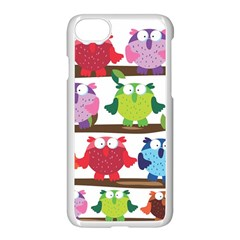 Funny Owls Sitting On A Branch Pattern Postcard Rainbow Apple Iphone 7 Seamless Case (white) by Mariart