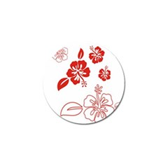 Hawaiian Flower Red Sunflower Golf Ball Marker by Mariart