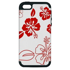 Hawaiian Flower Red Sunflower Apple Iphone 5 Hardshell Case (pc+silicone) by Mariart