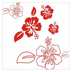 Hawaiian Flower Red Sunflower Large Satin Scarf (square) by Mariart