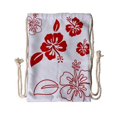 Hawaiian Flower Red Sunflower Drawstring Bag (small) by Mariart