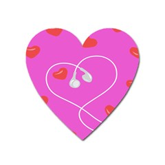 Heart Love Pink Red Heart Magnet by Mariart