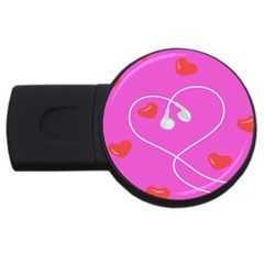 Heart Love Pink Red Usb Flash Drive Round (2 Gb) by Mariart